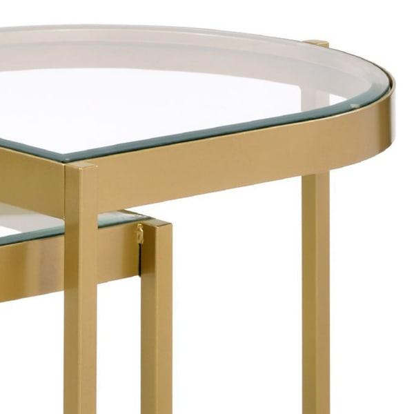 Half Oval Shape Metal Frame Gold Set of 2 Nesting Tables