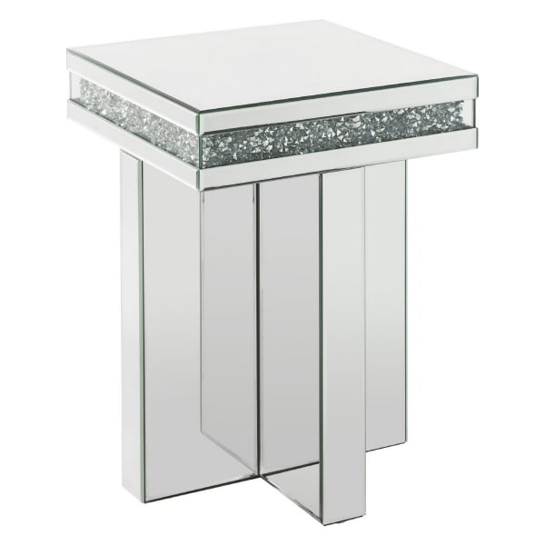 Encrusted Faux Acrylic Inlay and Cross Base Silver End Table