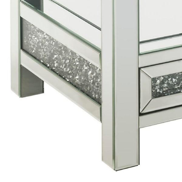 1 Lower Shelf and Mirrored Inserts Silver End Table