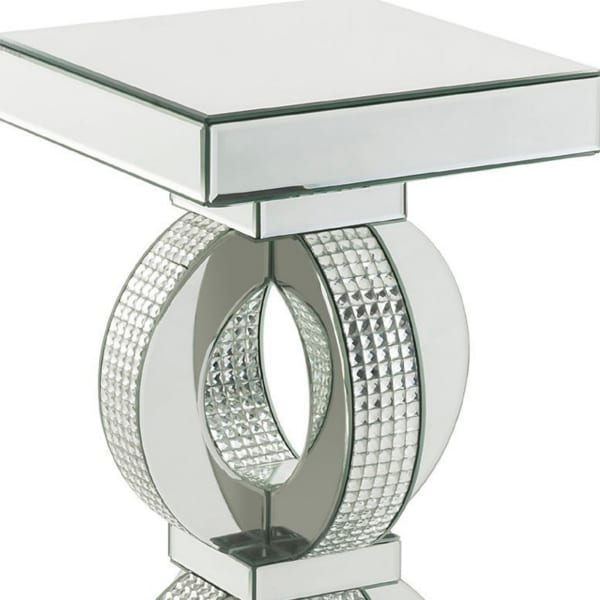 Interconnected Rings and Mirror Trim Large Silver Accent Table
