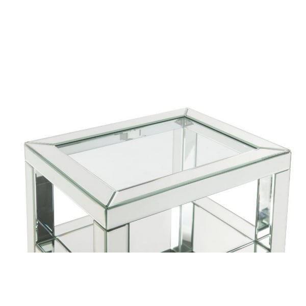Mirror Work and 2 Storage Drawers Large White Accent Table