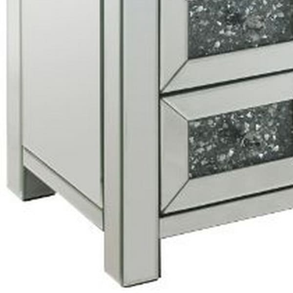 Mirror Work and 2 Storage Drawers Small White Accent Table