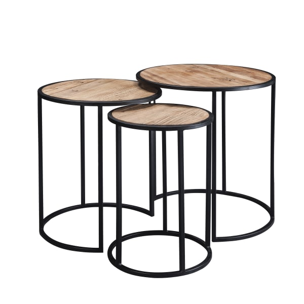 Rough Hewn Texture Brown Round Top Set of 3 Nesting Table