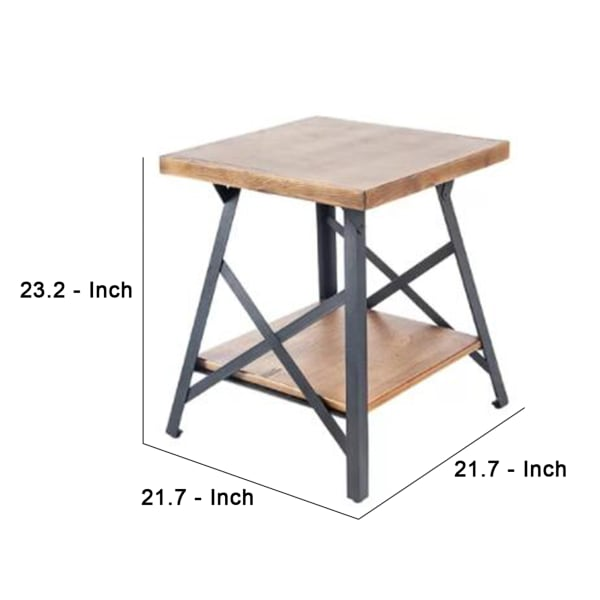 Angled Metal Legs and X Accent Rustic Brown End Table