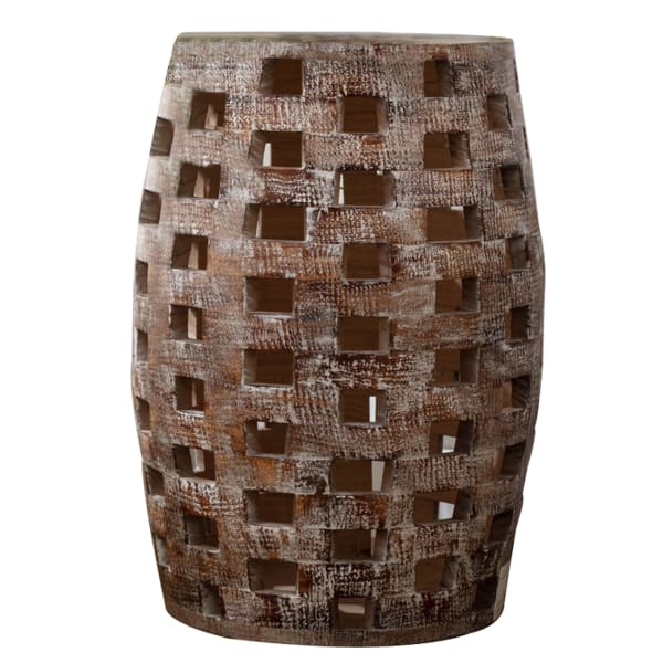 Drum Shape and Cut Out Design Weathered Brown Large Side Table