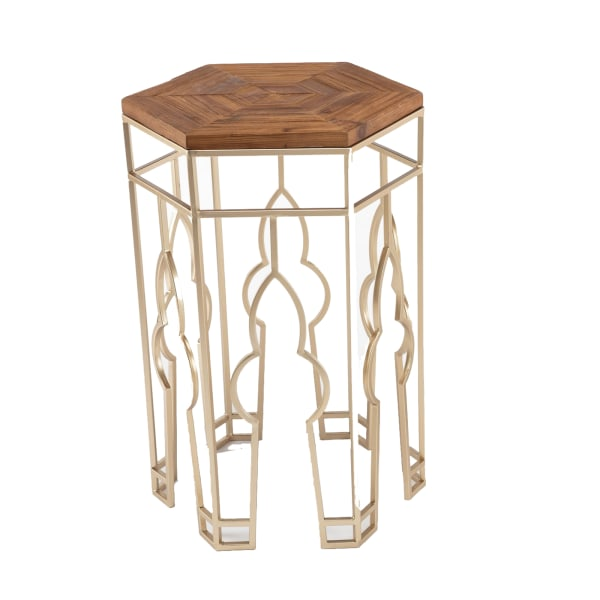 Hexagonal Top Brown and Gold Set of 2 Nesting Side Tables