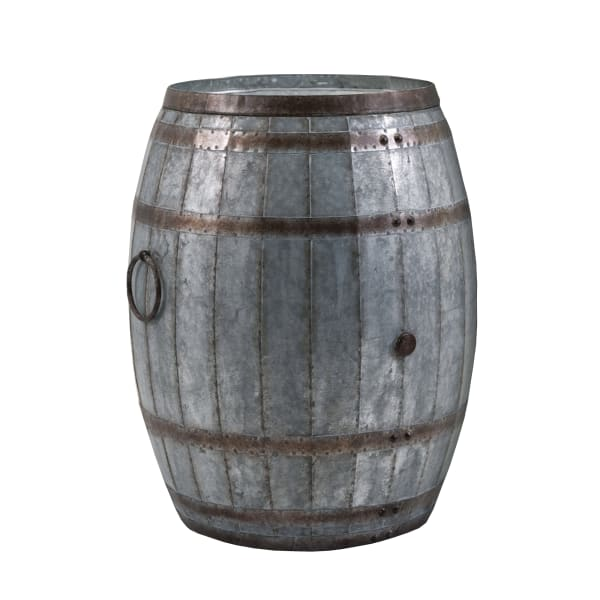Drum Shape Metal Rustic Brown and Gray Wine Storage Table with Removable Lid