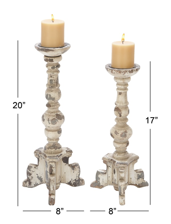 Vintage White Wood Set of 2 Candle Holders