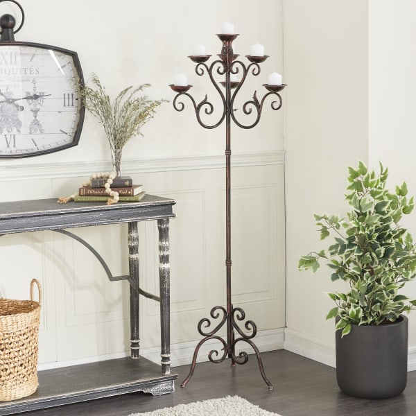 Traditional Brown Iron Candle Holder Lantern