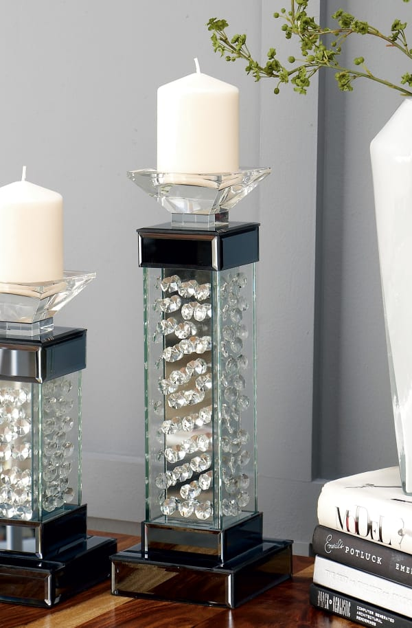 Glam Clear Glass Candlestick Holders