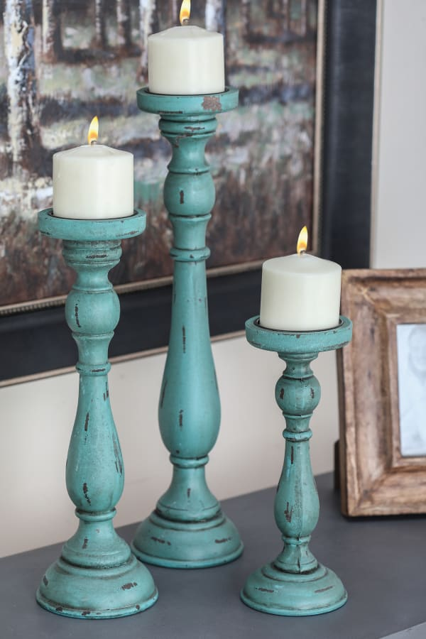 Traditional  Turquoise Wood Set of 3 Candle Holders