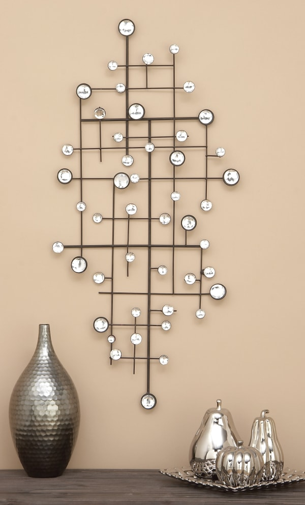 Glam Abstract  Silver Metal Wall Decor