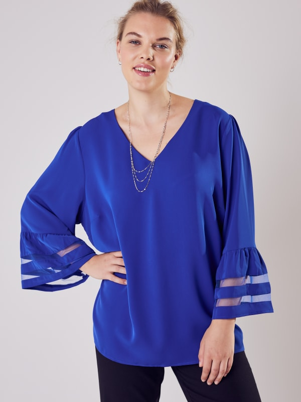 Wonder Blossom Top With Mesh Insert At Sleeve