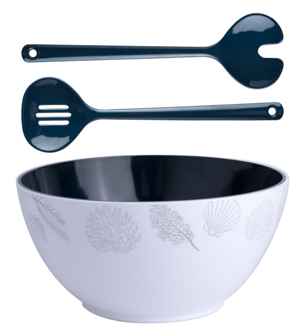 Living 3-Piece Salad Bowl and Cutlery Set