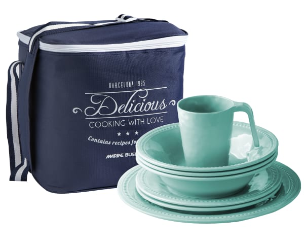 Aqua Harmony 16-Piece Melamine Tableware Set and Basket