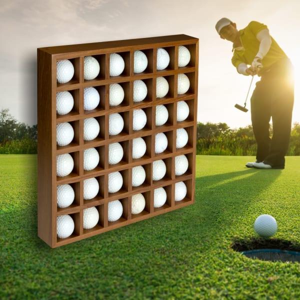 Teak 36 Golf Ball Holder and Display Rack