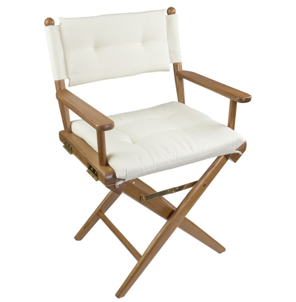 Teak Director's Chair with Crème Seat Cushions