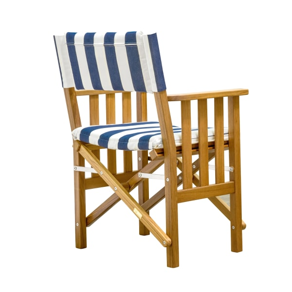 Teak Director's Chair II with Navy and White Stripe Seat Cushions