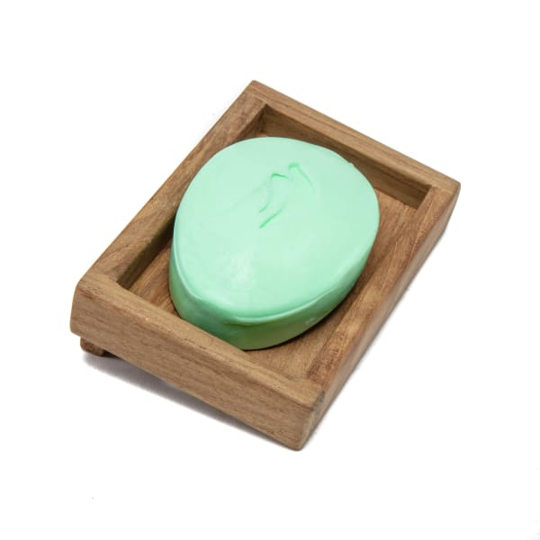 Teak Wall Mount Soap Dish with Removable Plastic Insert
