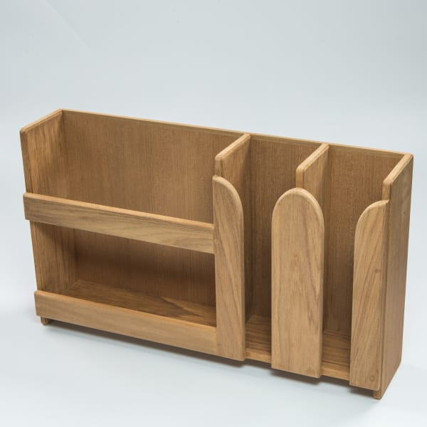 Teak Wall Mount or Stand Alone  Dish and Cup   Holder