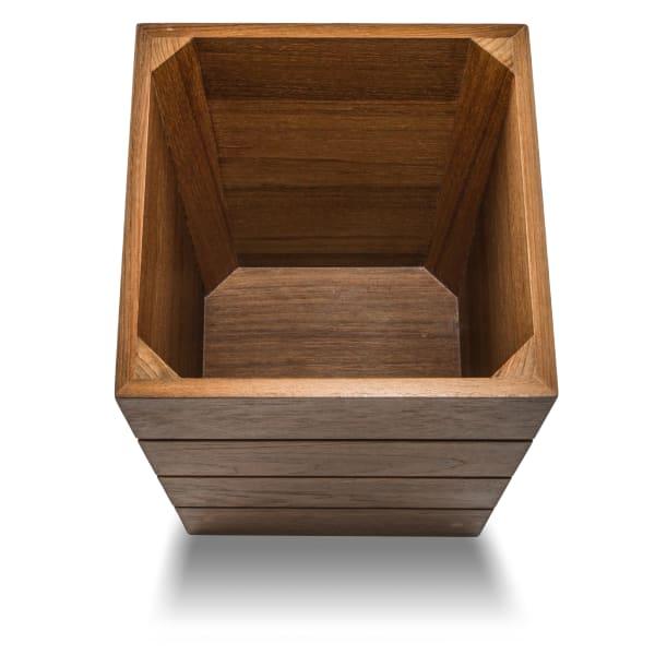 Small Solid Teak Waste Basket