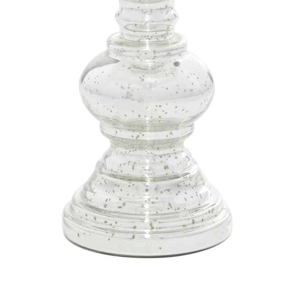 Silver Glass Traditional Set of 2 Candle Holders