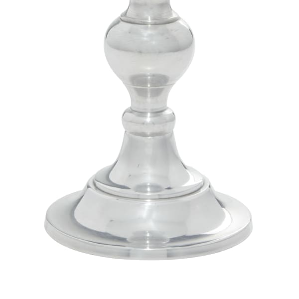 Silver Aluminum Traditional Set of 3 Candle Holders