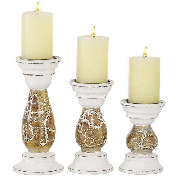 Beige Mango Wood Farmhouse Set of 3 Candle Holders