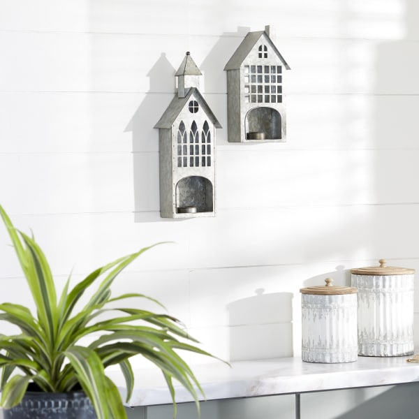 Grey Metal Farmhouse Set of 2 Candle Holders