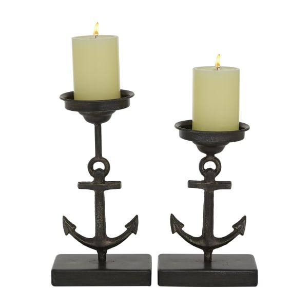 Black Metal Coastal Set of 2 Candle Holders