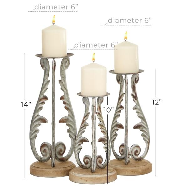 Silver Metal Vintage Set of 3 Candle Holders