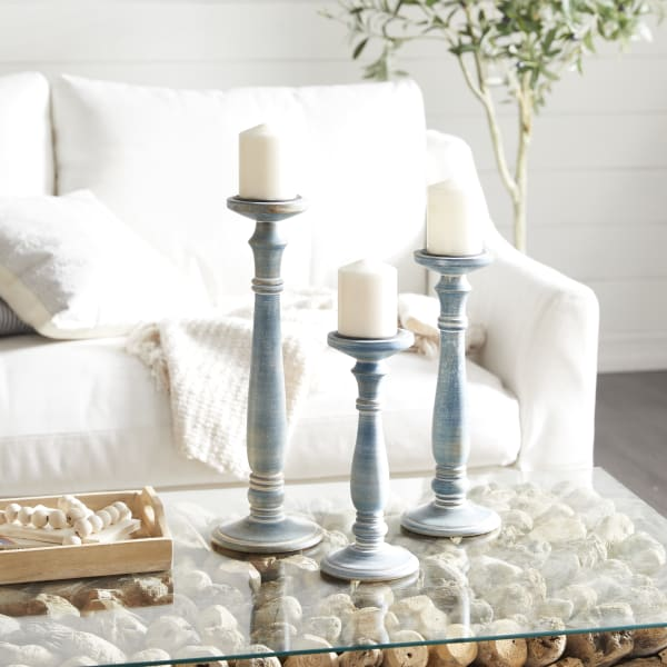 Blue Washed Wood Country Candlestick Holders