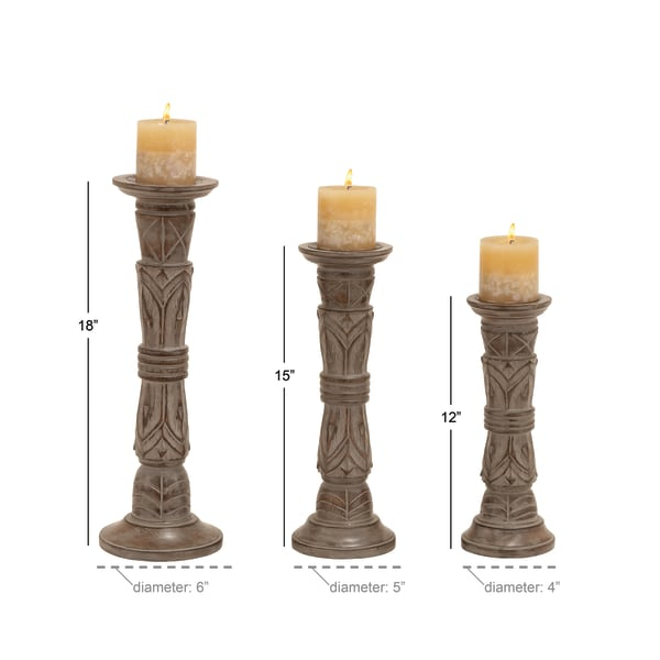 Light Brown Mango Wood Set of 3 Candle Holders