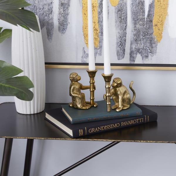 Gold Aluminum Glam Set of 2 Candle Holders