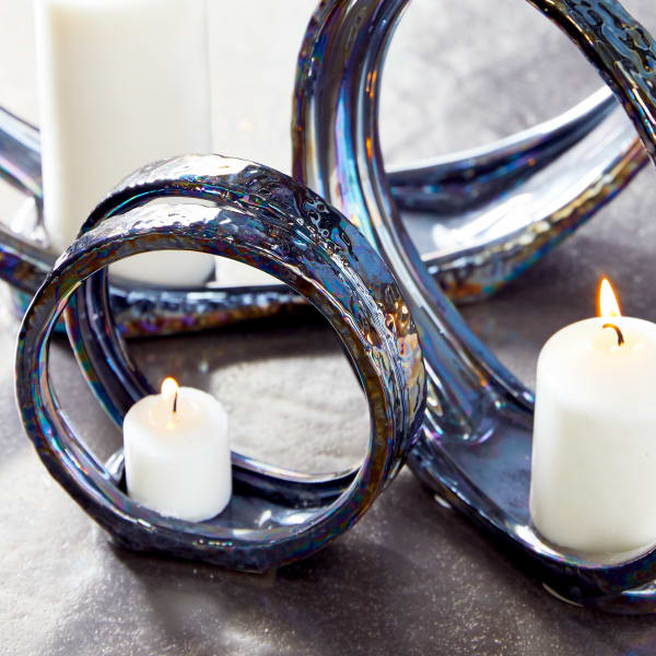 Silver Ceramic Glam Candlestick Holders