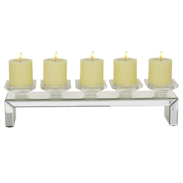 Clear Wood Glam Candlestick Holders