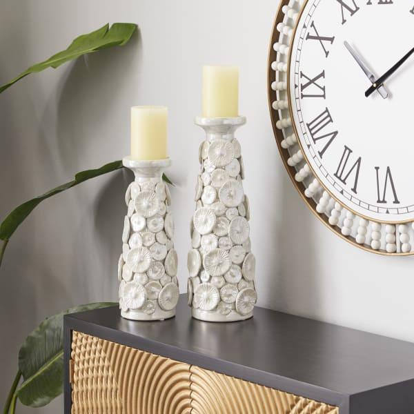 White Ceramic Farmhouse Set of 2 Candle Holders