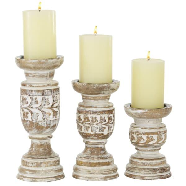 Beige Mango Wood Set of 3 Candle Holders