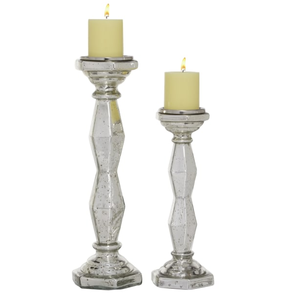 Silver Glass Glam Set of 2 Candle Holders