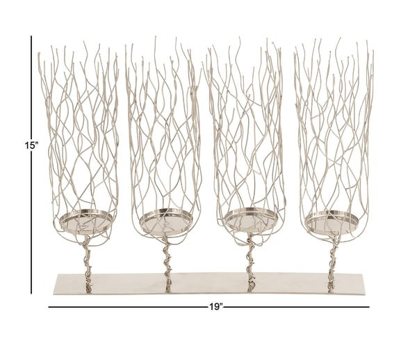 Silver Stainless Steel Candlestick Holders