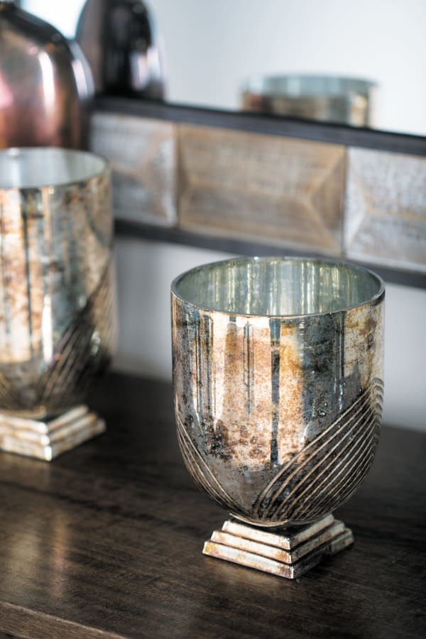 Gold Glass Rustic Candlestick Holders