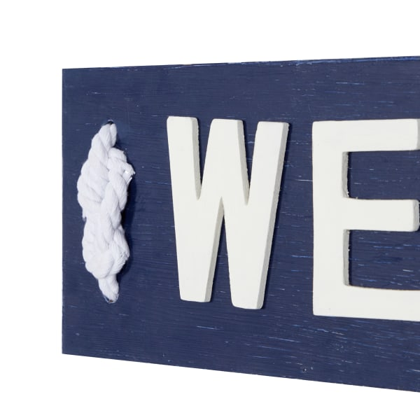 Coastal Blue and White Wood and Metal Welcome Sign