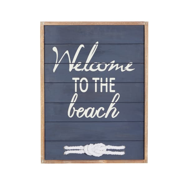 Coastal Blue Wood Welcome to the Beach Sign