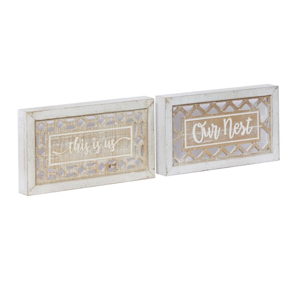 Farmhouse Beige Wood Sign Set of 2  Wall Decors