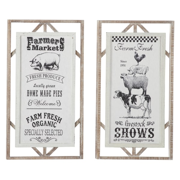Farmhouse Wood Sign  Set of 2 Wall Decors