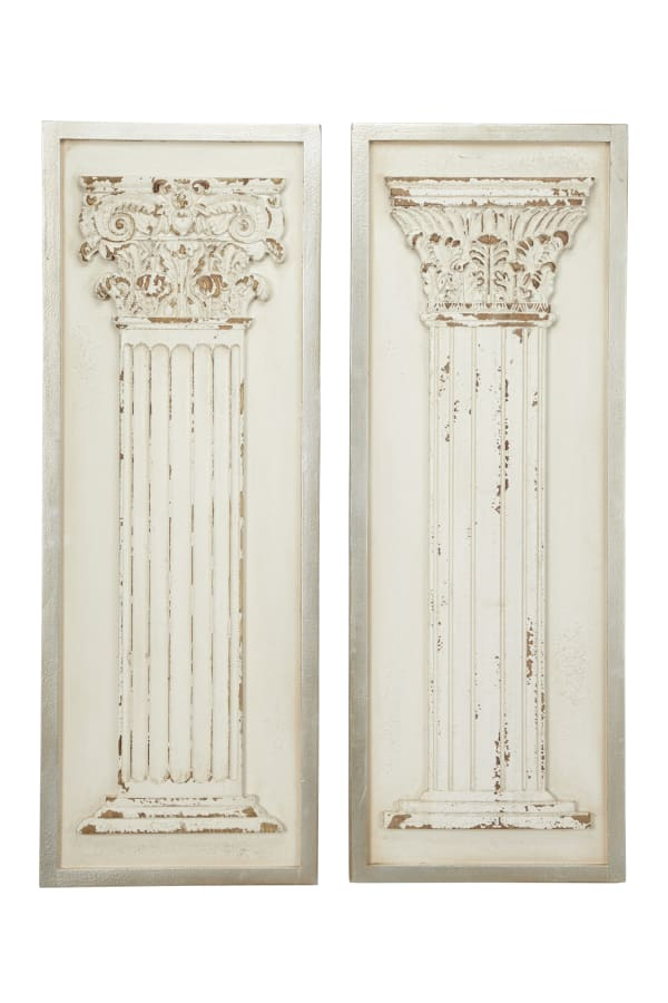 Vintage White Wood Set of 2  Wall Decors