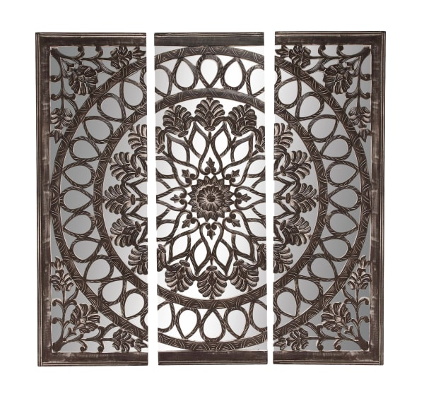 Boho Style Ornamental Black Wood Wall Decor