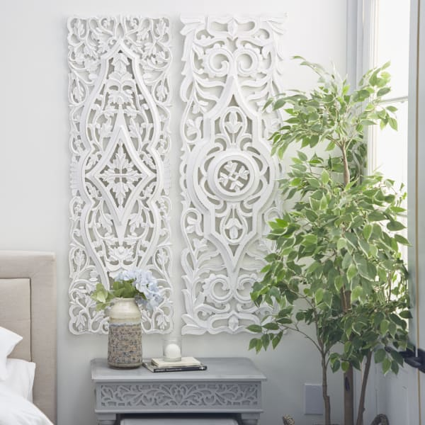 White Mango Wood Set of 2 Wall Decors