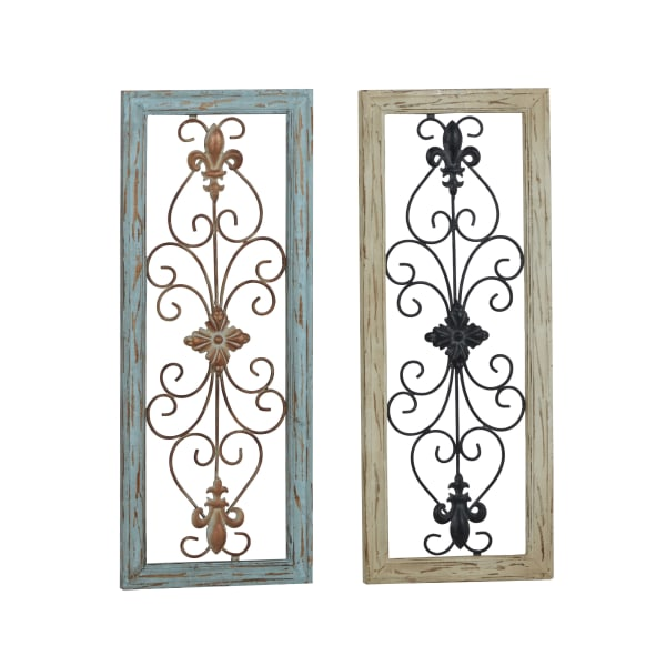 Rustic  Multi Colored Wood Set of 2 Wall Decors