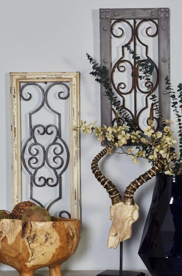 Traditional Ornamental Grey Wood Wall Decor